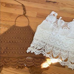 Forever 21 Tan & White Crochet Boho Top Bundle